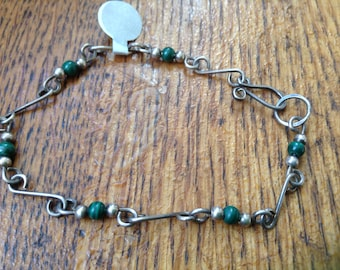 Sterling Wire link and malachite bracelet