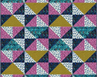 Hello There Pattern in Lagoon by Rashida Coleman-Hale for Cotton + Steel  - Finished Quilt - 48x48 Precut Quilt Kit and Fabric for Binding