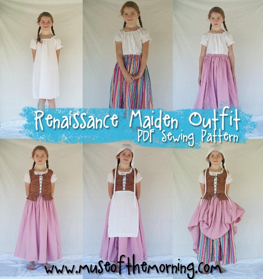 PDF SEWING PATTERN Complete Renaissance Maiden Dress girls