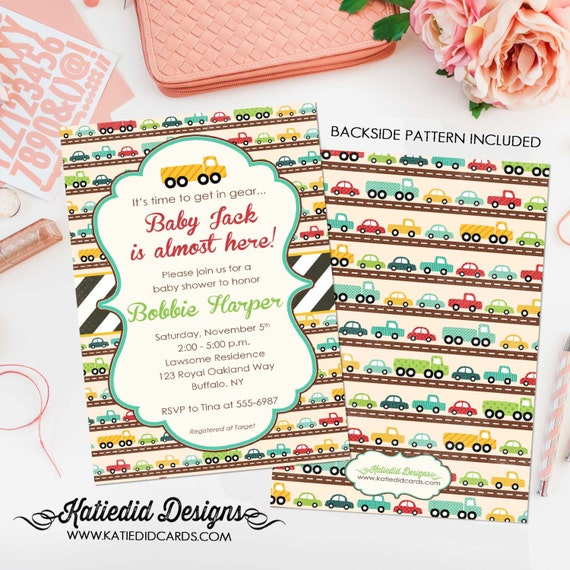 Car baby shower invitation Travel theme little truck couples coed sprinkle sip see diaper wipes birthday oh boy brunch gay | 1264 Katiedid