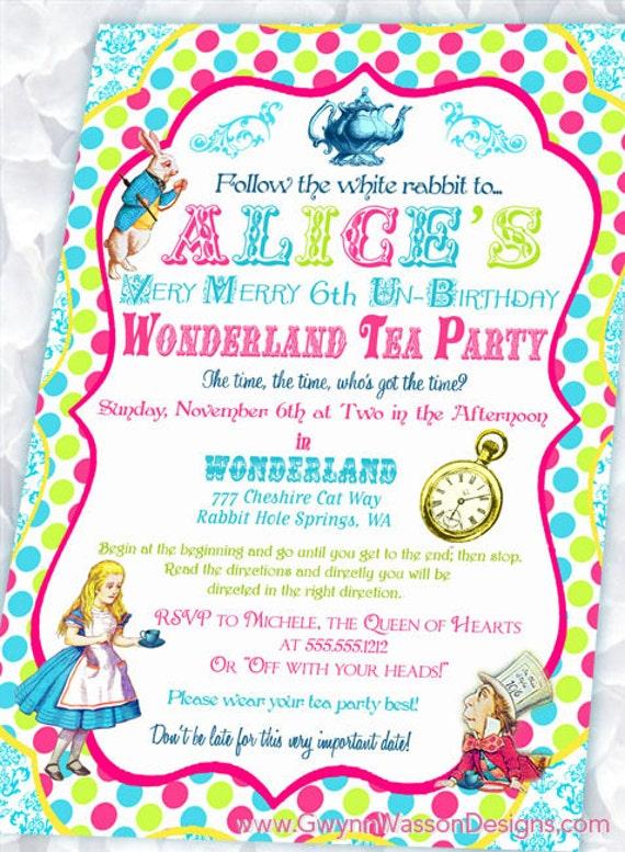Items Similar To Alice In Wonderland Invitation Birthday Tea Party