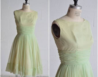 1960s light green party dress · vintage a line fit and flare · sleeveless pastel prom dress ·  mad men dress · mod knee length dress ·  xs