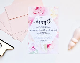 Watercolor Floral Shower Invites / Pink Peach / Calligraphy / Semi-Custom Party Bridal Baby Shower Invites / Print-at-Home Invitations