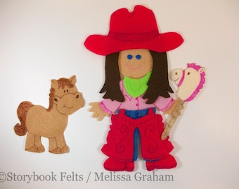 SHOP CLOSING SALE - Felt Doll Outfit Cowgirl Felt Doll Dress Up Set Without Doll  Felt Doll Paper Doll Non Paper Doll