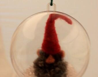 Needle felted Gnome Ornament Gnome Snow Globe, Gnome ornie 4 inch #   1987