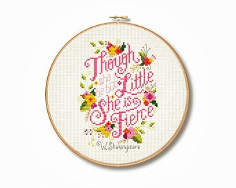 Shakespeare 'She is Fierce' Cross Stitch Pattern (Digital Format - PDF)