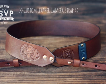 Custom Leather Camera Strap, Handmade personalized gift, Brown stain, Skull, day of the dead, Custom text, name initials