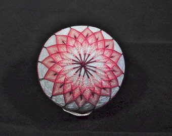 Rattling Temari Ball Ornament Pink Flowers on White Home Decor Wedding Gift