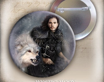 The Dire Snow-2.25 Inch Pin Back Button - inspired by Jon Snow and Ghost from Game of Thrones - GOT Inspired Art