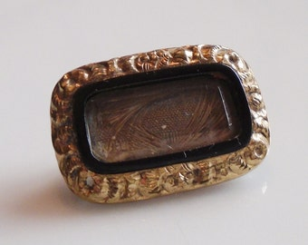 Victorian Hair Mourning Brooch 1880s Gold Fill Pin Beveled Glass Hair