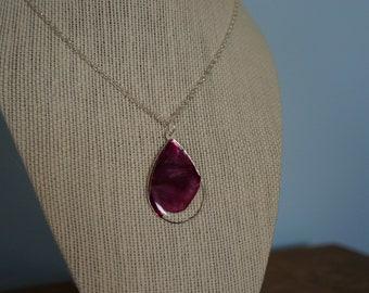 Tiptoe Teardrop, real pressed tulip necklace