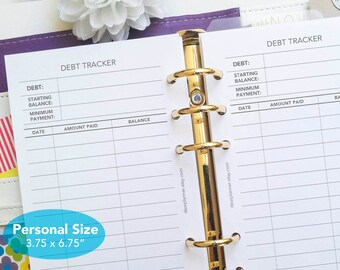 PRINTED Debt tracker insert - Personal 3.7x6.7 - Debt repayment tracker - Debt management - Financial insert - Printed inserts- P20