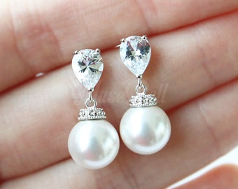 White swarovski pearl earrings, Wedding gift earrings, White bridal earrings, CZ stud earrings, Pearl dangle Earrings, Bridesmaid Gift,