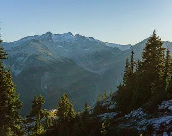 Evergreen State, Pacific Northwest Landscape, Wahsington Hiking, Mountain Sunset Photo, Fine Art Nature Photography, Blue Summer Sky, Trees