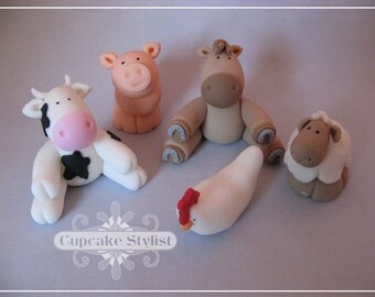 Fondant Barnyard Animals Cake Topper set by Cupcake Stylist