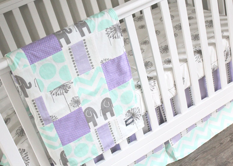 Purple Crib Bedding Mint Lavender Baby Girl Bedding Crib
