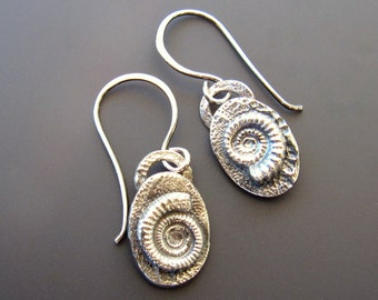 Sterling Silver Oval Ammonite Drop Earrings Oxidized Seafoam Texture with Handmade Sterling Silver Earwires