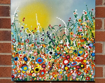 "Original Painting 'Bursting Spring' in Acrylic Painted on High Quality Boxed Canvas (20"" x 20""/ 600mm x 600mm)"