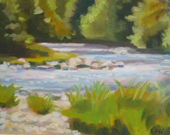 Oil Painting Oconaluftee River Smokey Mountains