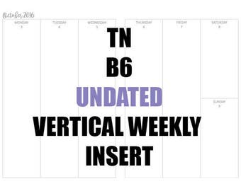 TN B6 VERTICAL UNDATED Insert: MO2P, Vertical WO2P, Habit Tracker, Shopping Tracker & Goals and Achievements page