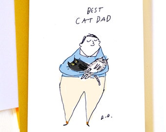 Best Cat Dad Card - Father's Day Card - Card for Cat Dad