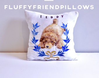 hand painted 100% silk velvet pet portrait pillow 13*13