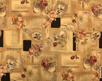 English Afternoon Fabric, Tea Cup & Roses Yuwa Fabric, Hand Mirror - Suzuko Koseki 826148 E - Tea Stained Brown - Priced by the 1/2 yard