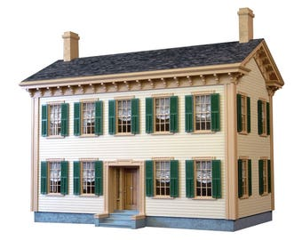 Dollhouse Kit, DIY Dollhouse, Abraham Lincoln Springfield Home Unfinished Dollhouse Kit