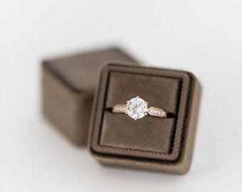 Velvet Ring Box - TRUFFLE - Handmade Vintage Antique Style Monogram Engagement Wedding Ring Proposals Styled Shoots Temple