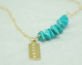 Turquoise Necklace CUSTOM Gift for Mom Gold Necklace Gemstone Beaded Necklace Personalized Gift Mothers Day Boho Personalized Necklace