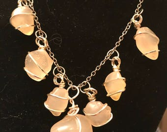 natural wrapped beach agtes with matching ear rings