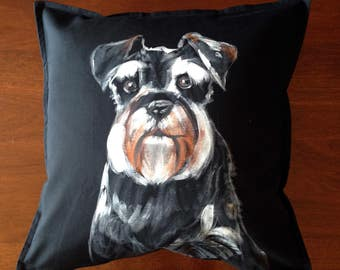 Schnauzer - hand painted cushion cover black
