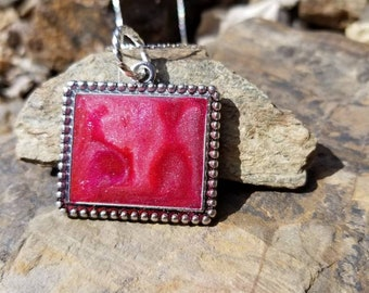 Marbled Frame Pendant / red / One of a kind  / gift idea