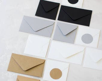 Matte Envelopes - Mini / Small - 24 pc - Black / Gray / Vintage White / Natural Kraft