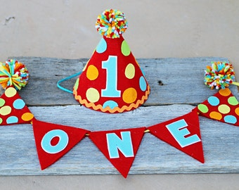 Boys Carnival 1st Birthday Party Hat - Cake Smash - Circus Polkadot Hat and High Chair One Banner