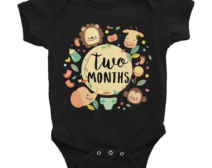 Two Months Milestone Onesie® Infant Bodysuit,  2 Months Baby Bodysuit, Monthly onesie, Month by Month Bodysuit, Baby Monthly Onesie, Monthly