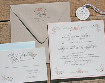 Floral Wedding Invitation Set in Mint and Blush - Rustic Wedding Invitation - MInt and Blush Invitation - Sample