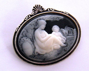 Mother Child Cameo Brooch, Mother Child Black Cameo Pin, Mother Child Jewelry, New Mom Gift, Silver or Gold