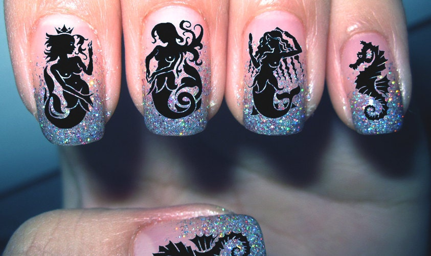 ON SALE MERMAIDS Nail Art Decals with Seahorses Nail Art Decals (Mm1 ...