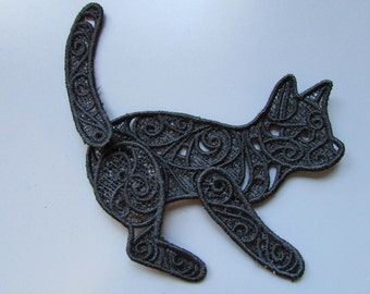 Embroidered Cat Lace Applique with moving parts
