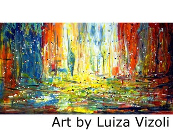 SUNRISE BOATS Abstract Painting HUGE Pollock Inspired 72x36 Expressionist Drip