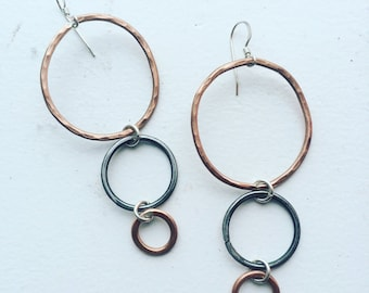 hammered steel and copper loops
