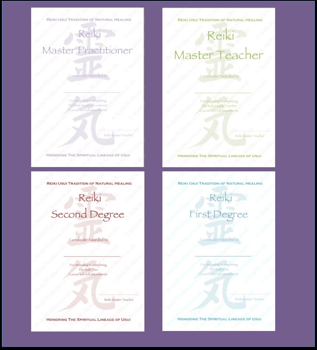 Personalisierte komplett Set Reiki Zertifikate Vorlagen