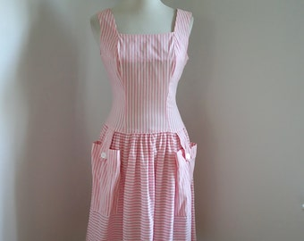 1960s 'Candy Stripes' Pink Cotton Day Dress