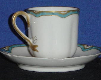Haviland Demitasse Cup and Saucer with Ultramarine and Gold Trim (MV)