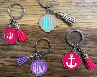 Monogram Keychains | Tassel Keychain | Keychains | Cute Keychains | Gift For Her | Bridesmaid Box | Girlfriend Gift | Bridesmaid Gift