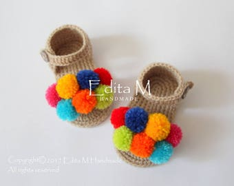 Crochet baby sandals, pom pom sandals, open toe baby booties, baby shoes, 6-9 months, gift for baby, baby shower, gladiator sandals, summer