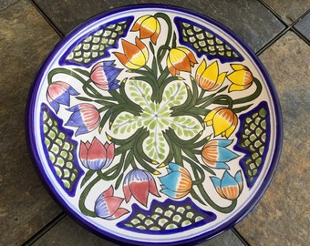 TALAVERA ARTE Plate Spectacular Mexican Ceramic Colors Hanging Art Plate Mexican Artisan