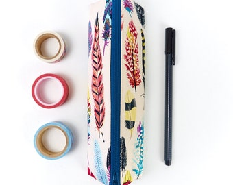 Bohemian Style Feather Fabric Pencil Case Small Zipper Pouch Arty Woman's Gift Storage Back To School