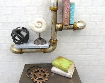 Steampunk shelf with books and ammonite on pipes  in 1:12 scale